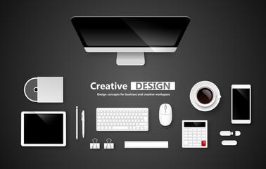 Creative design workspace. Vector