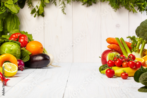 canvas print picture Fruit and vegetable borders Fruit and vegetable borders on wood