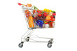 Shopping Trolley of Food on White Background. - 79166158