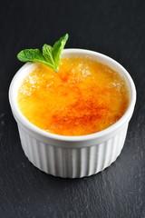 Creme brulee.French vanilla cream dessert