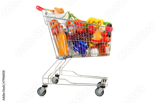Foto op Canvas Klaar gerecht Shopping Trolley of Food on White Background.