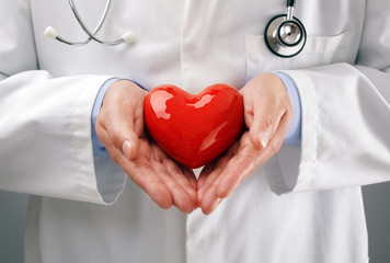Doctor holding heart with care