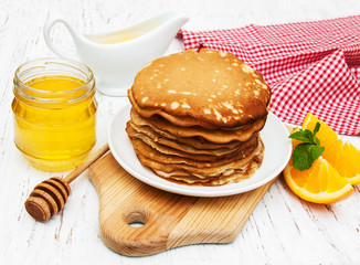 Pancakes with milk and honey