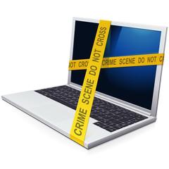 Crime scene on a laptop
