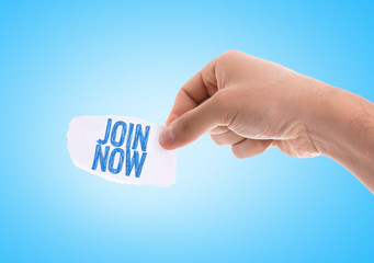 Join Now piece of paper with blue background
