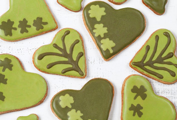 Patricks day green cookies with sugar icing clover