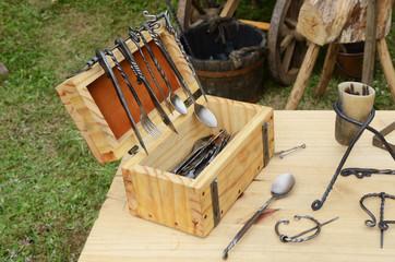Vintage eating utensils forged