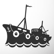 Silhouette fishing vessel - 79168998