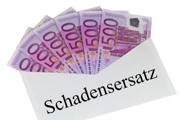 Schadensersatz - Kuvert mit 500 Euro Banknoten