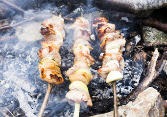Skewers on fire mountain