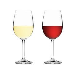 Weißweinglas und Rotweinglas