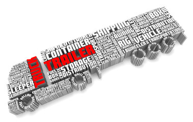 3d words shaping a truck with trailer aerial front view