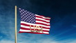 United states flag slider style with title USA. Waving in the