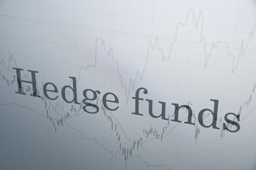 """Inscription """"Hedge funds"""" on PC screen. Financial concept."""