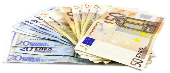 A bundle of Euro banknotes