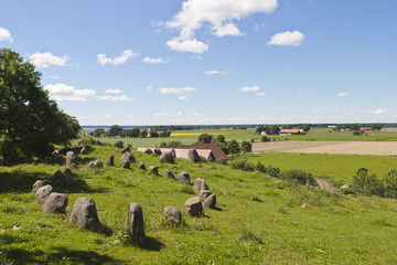 Stone ships in landscape