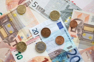 Money euro coins and banknotes