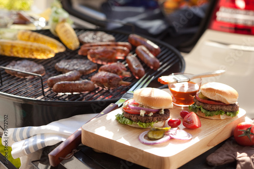 Foto Spatwand Barbecue Grille Hamburgers