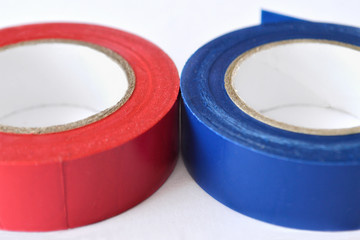 Insulating tape rolls isolated on white background
