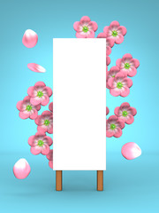 Pink Cherry Blossoms And Blank Billboard On Blue Background