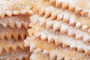 Chiacchiere, italian Carnival pastry heap close up