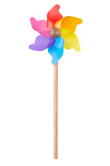 Pinwheel, colorful toy on white, clipping path