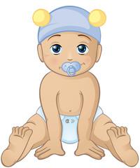 freches Baby mit Bärchenmütze