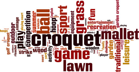 Croquet word cloud concept. Vector illustration