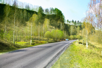 highway along hill in spring