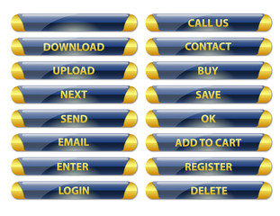 blue and golden rounded glossy internet buttons