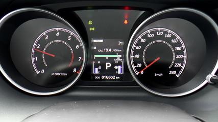 The video shows modern car dashboard. Clous up.
