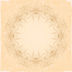 Openwork floral frame on an old beige background