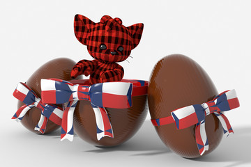 Uovo di Pasqua cioccolato con colori Rep. Ceca  e peluche