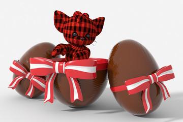 Uovo di Pasqua cioccolato con colori Austria  e peluche