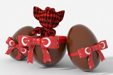 Uovo di Pasqua cioccolato con colori Turchia e peluche