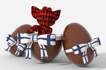 Uovo di Pasqua cioccolato con colori Finlandia  e peluche