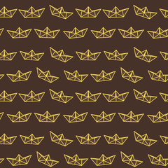 Dark chocolate yellow paper ship pattern