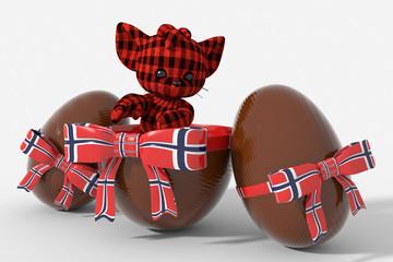 Uovo di Pasqua cioccolato con colori  Norvegia e peluche