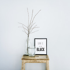 Motivational frame LOVE IS THE NEW BLACK. Scandinavian style