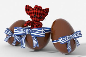 Uovo di Pasqua cioccolato con colori Grecia  e peluche