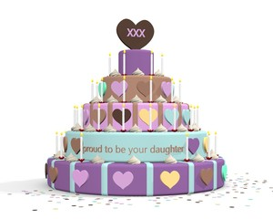 "Delicious cake with the text ""proud to be your daughter"""