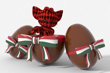 Uovo di Pasqua cioccolato con colori  Ungheria e peluche