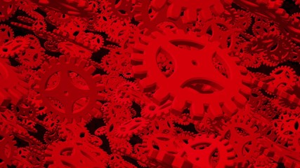 Abstract dark red rotating gears