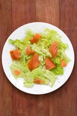 salad with smoked salmon on plate