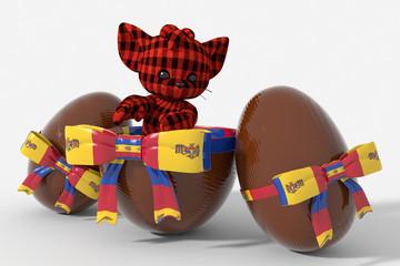 Uovo di Pasqua cioccolato con colori Moldavia e peluche