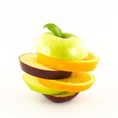 Fresh sliced fruits in shape of apple