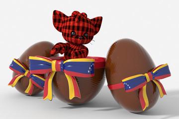Uovo di Pasqua cioccolato con colori Venezuela e peluche