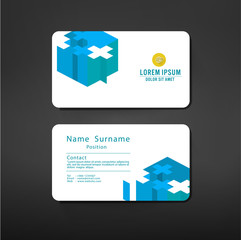 business cards template layout with plus symbol modern geometric
