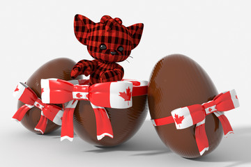 Uovo di Pasqua cioccolato con colori Canada e peluche
