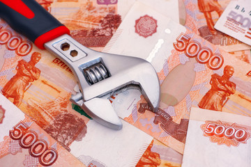 Adjustable wrench on five thousand rubles